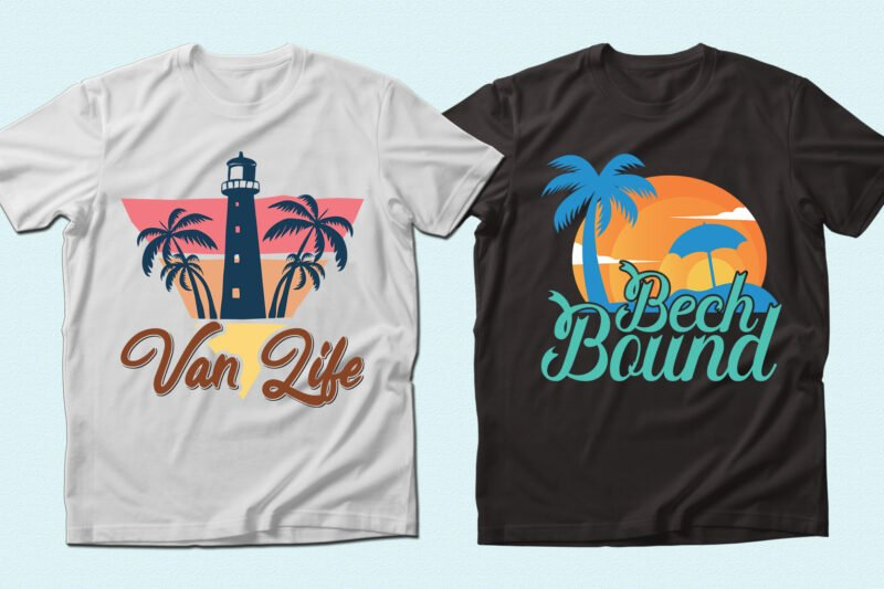 T-shirts in the beach style.