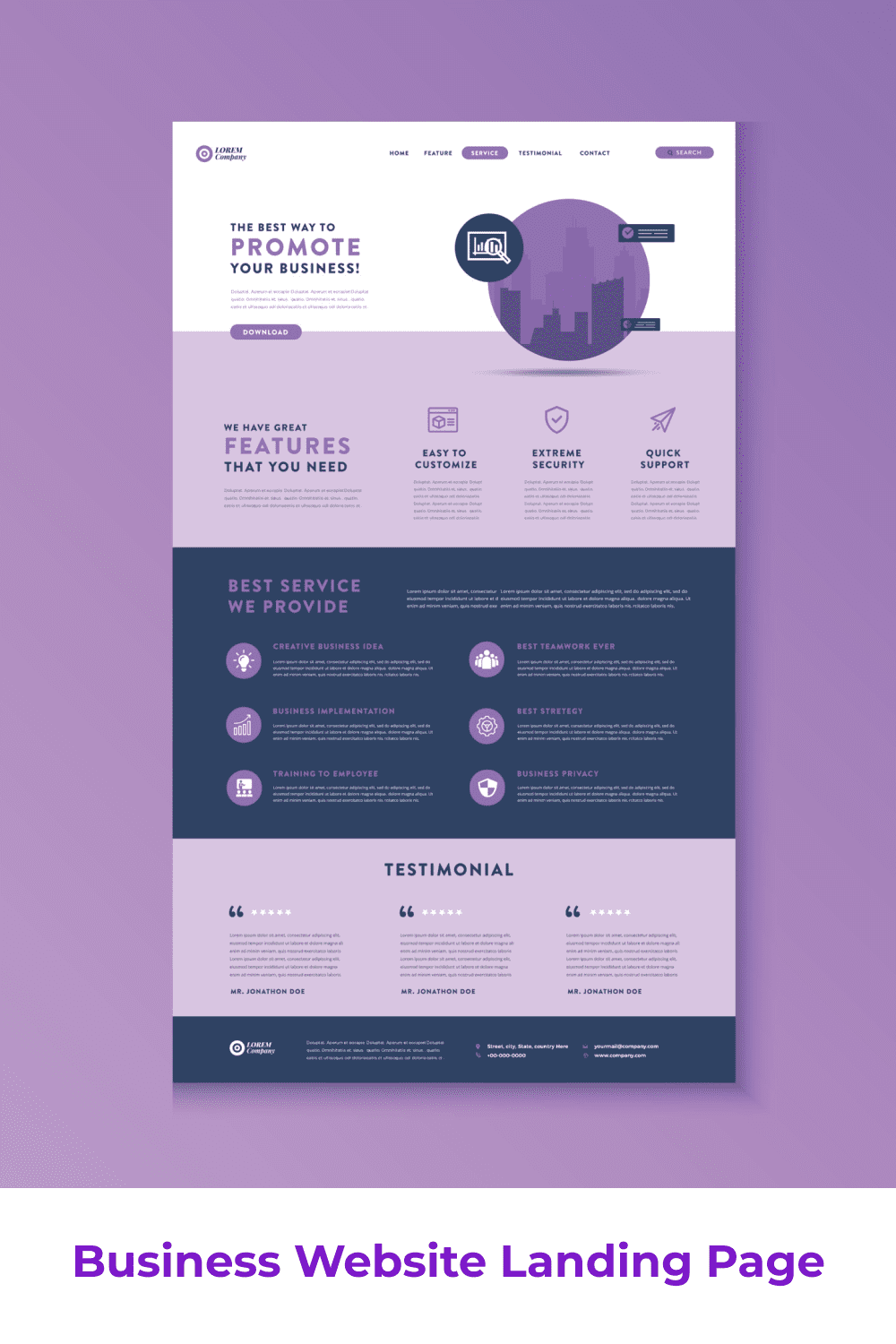 Template for a web page in purple with many infographics and diagrams.