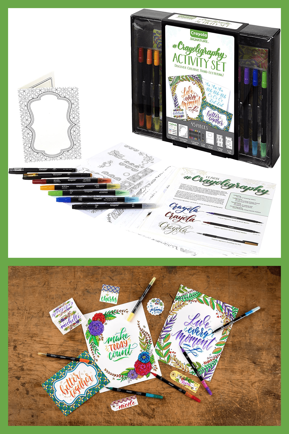 This kit includes everything you need to learn the art of hand-lettering, including intro and practice sheets, premium markers, and detailing gel pens.