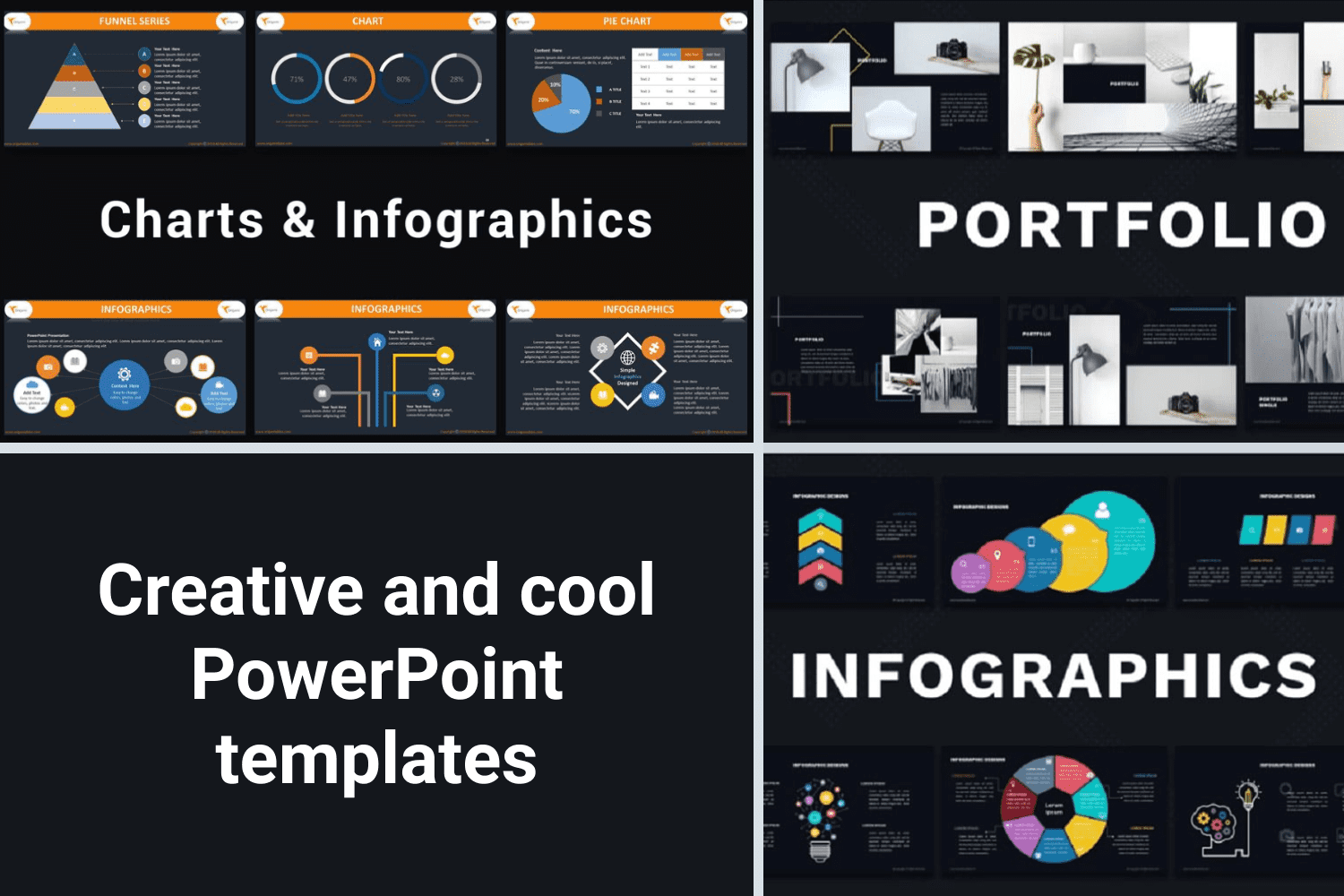 Stylish dark template with colored infographics looks impressive and memorable.