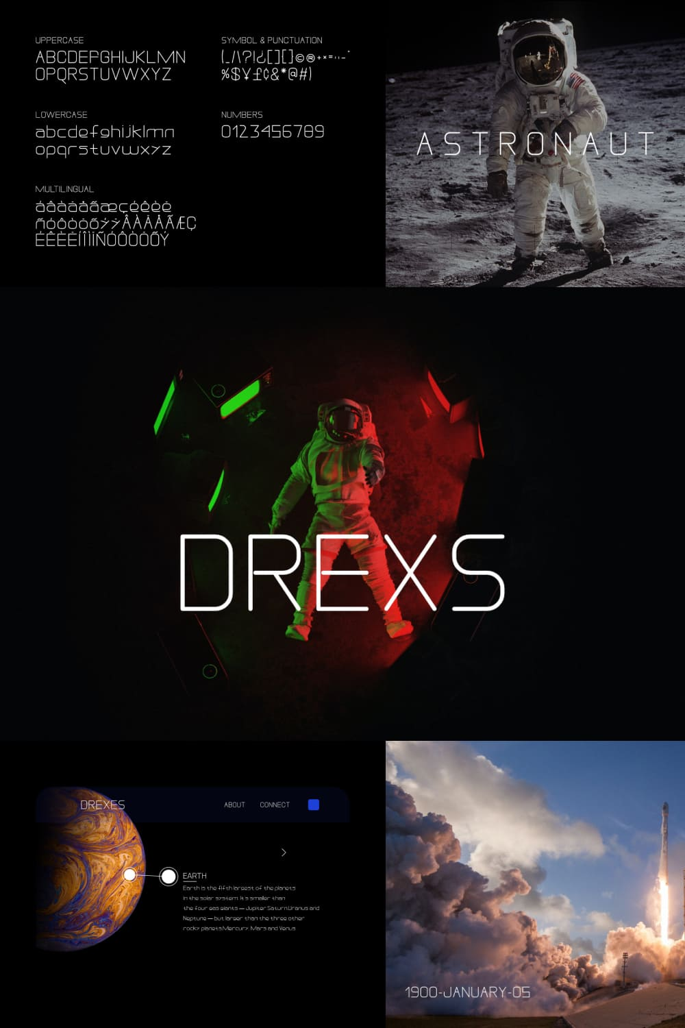 Drexs is a simple, thin and futuristic display font.