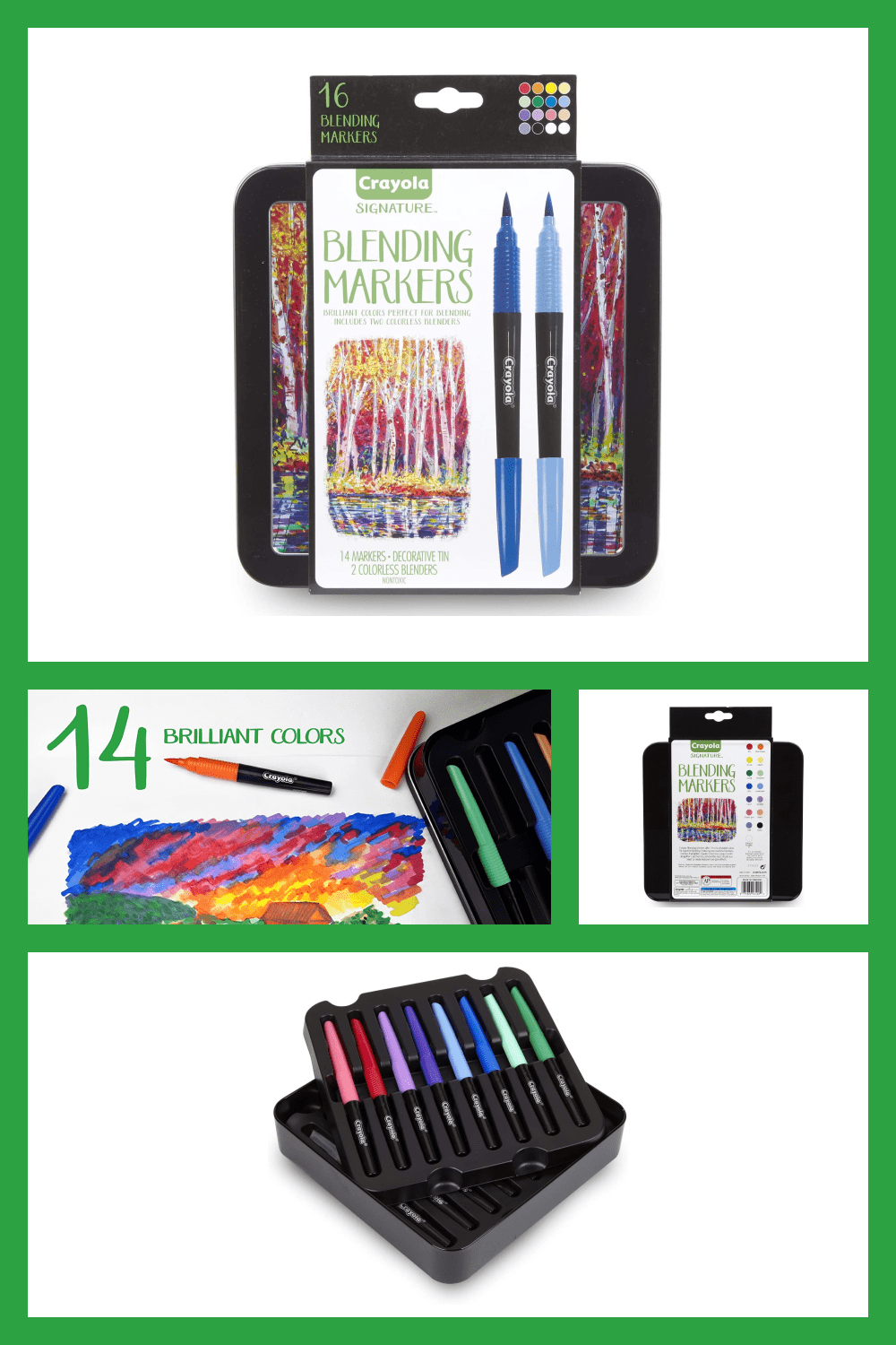 Blending markers & decorative tin: features 14 vibrant color markers, 2 colorless markers for blending, and a marker storage case.
