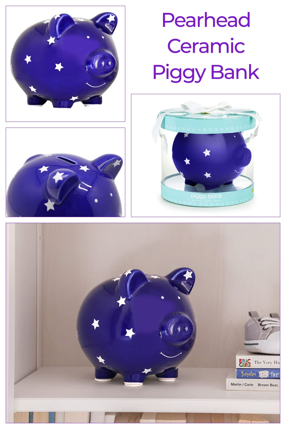 Pearhead glazed ceramic piggy bank is the perfect gift for baby.