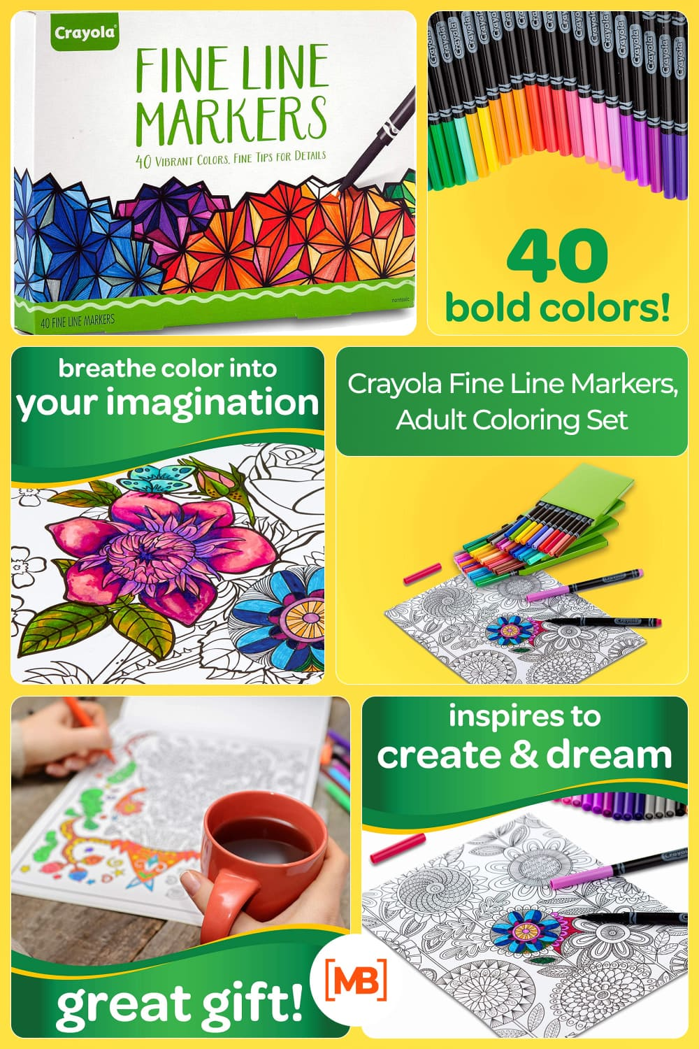 One 40-ct crayola fine line markers adult coloring set.