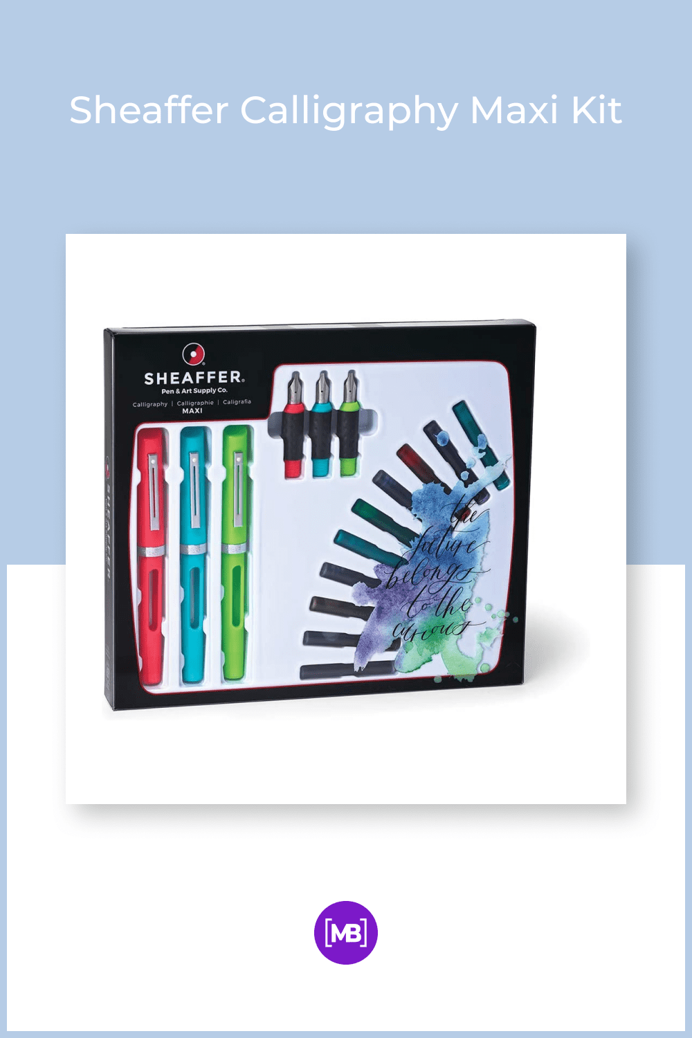 A party in a box for the dedicated calligrapher of any level! Three pens, each with a different nib grade, and a generous assortment of ink colors allow for multiple colors on the same project without cleaning the pen.