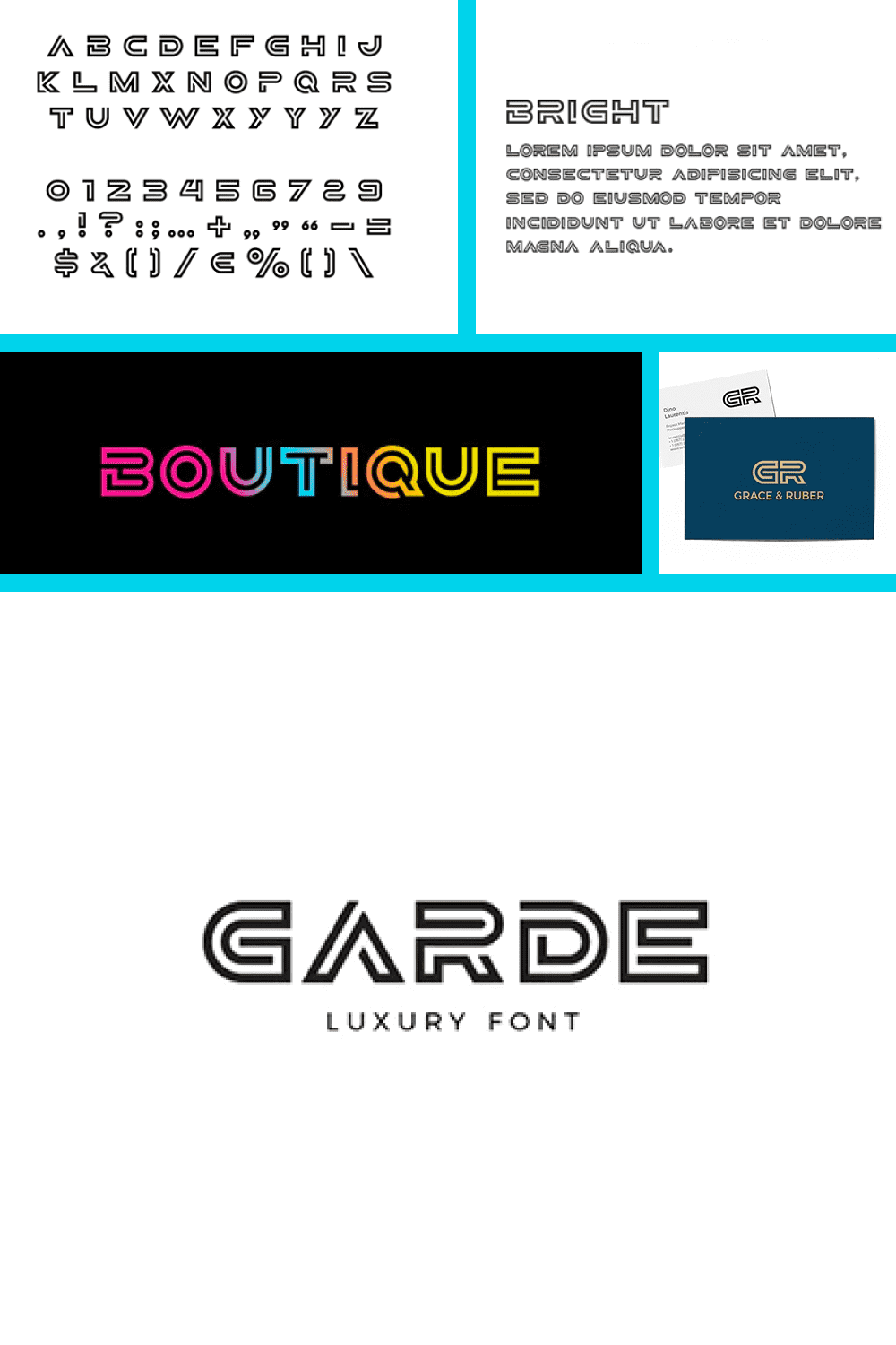 Dark outline and hollow letters will be a perfect match for luxury beauty, jewelry, and fashion industries.