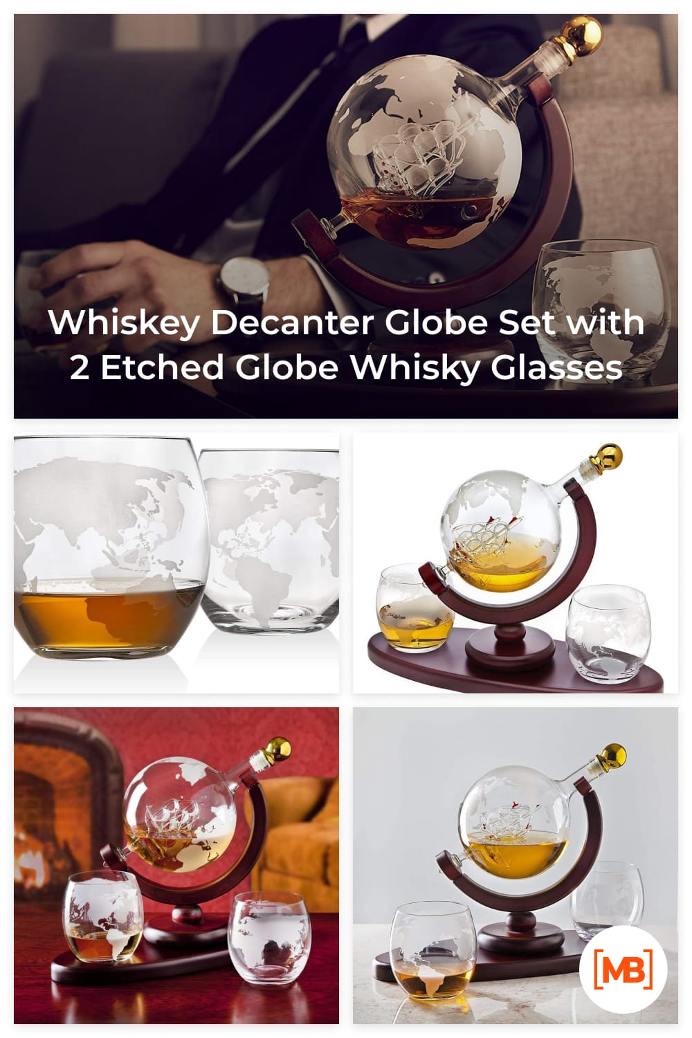 Hand blown elegant whiskey decanter dispenser featuring an etched globe design and antique ship in the bottle will undoubtedly enhance your drinking experience while making a bold impression.