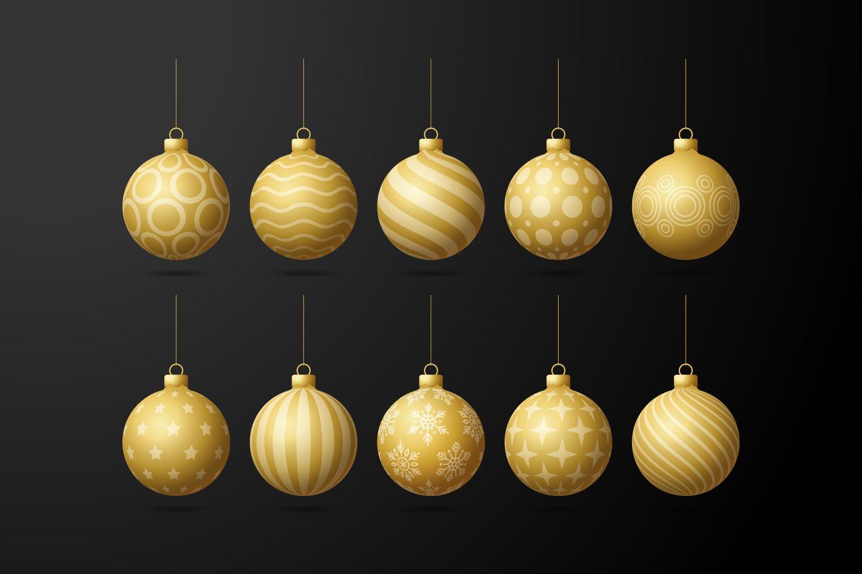 Premium Christmas tree decorations - golden with golden lines.