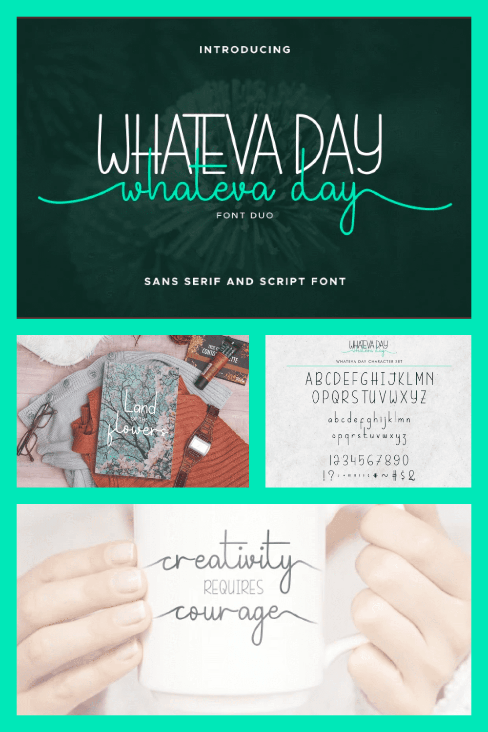 The Whateva Day font has two options – a lower case and a sharp upper.