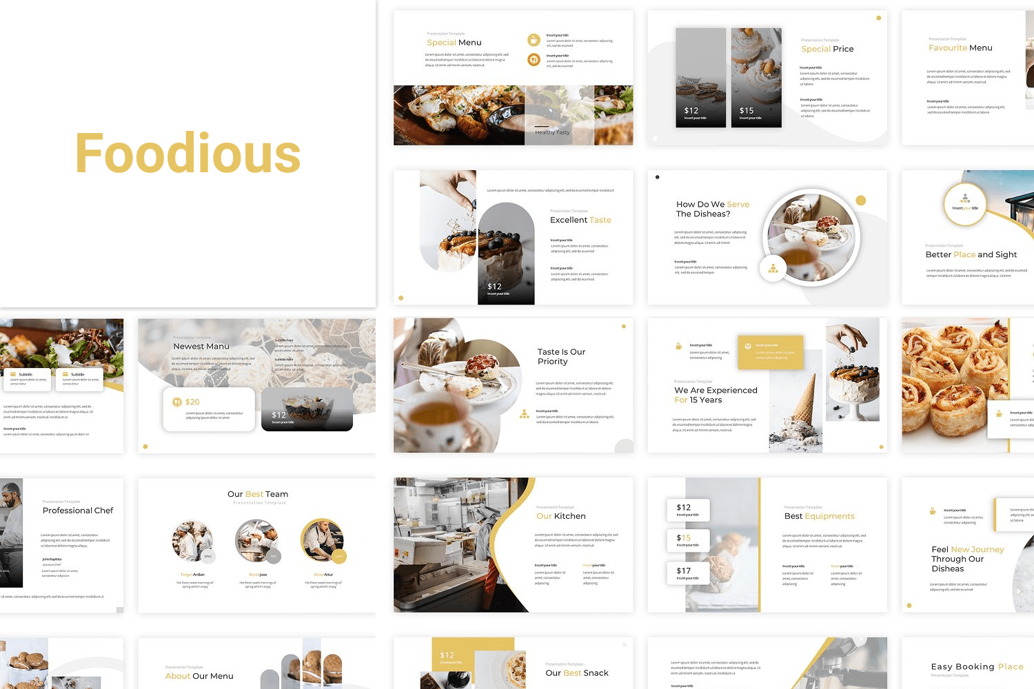 A very sweet template in honey color. It is ideal for a food blog or catering presentation.