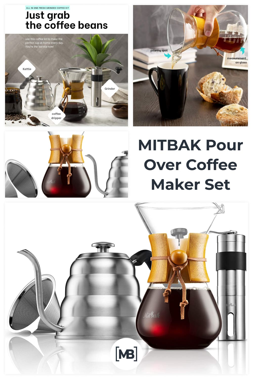 Just wait until you taste the difference when you make a cup of joe with this coffee brewer set.