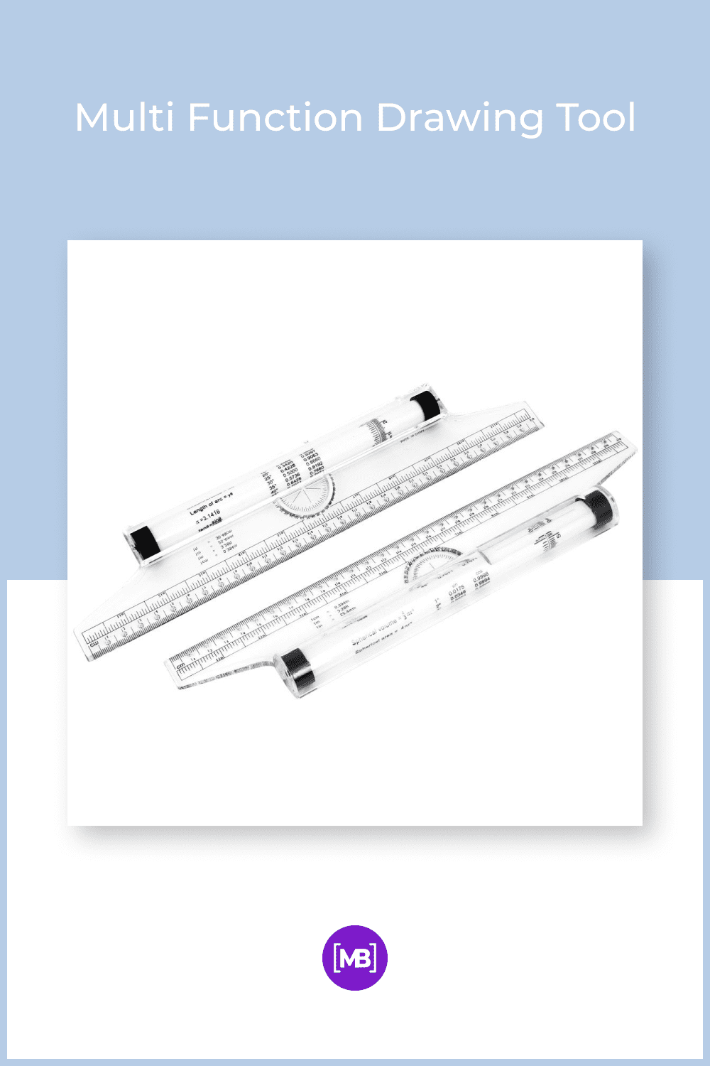 An easy-to-use instrument that combines the functions of a parallel straightedge, triangle, protractor, T-square, and compass in one.