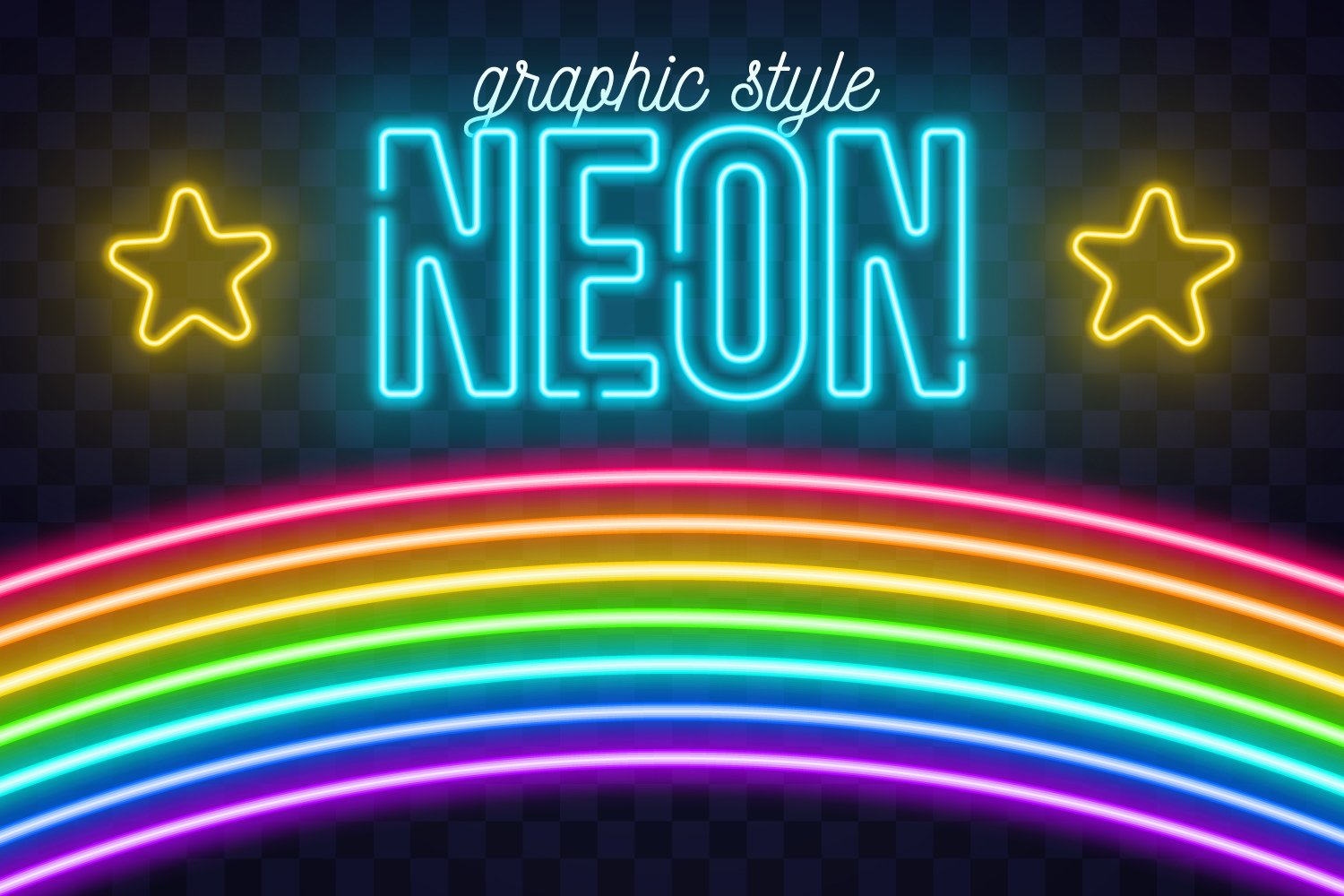 A neon festival of stars and rainbows.