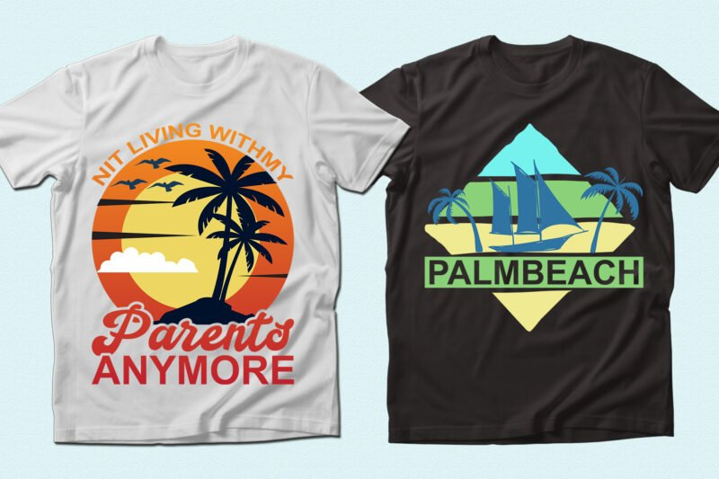 T-shirts with the sun and ship.