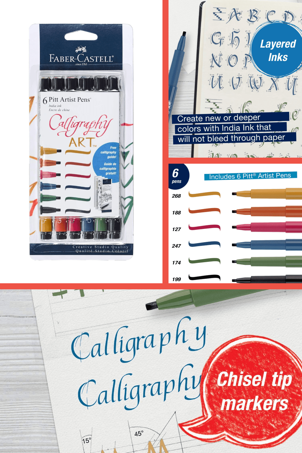 Faber-Castell Pitt Artist calligraphy pens are the best and most versatile brush pen on the market.
