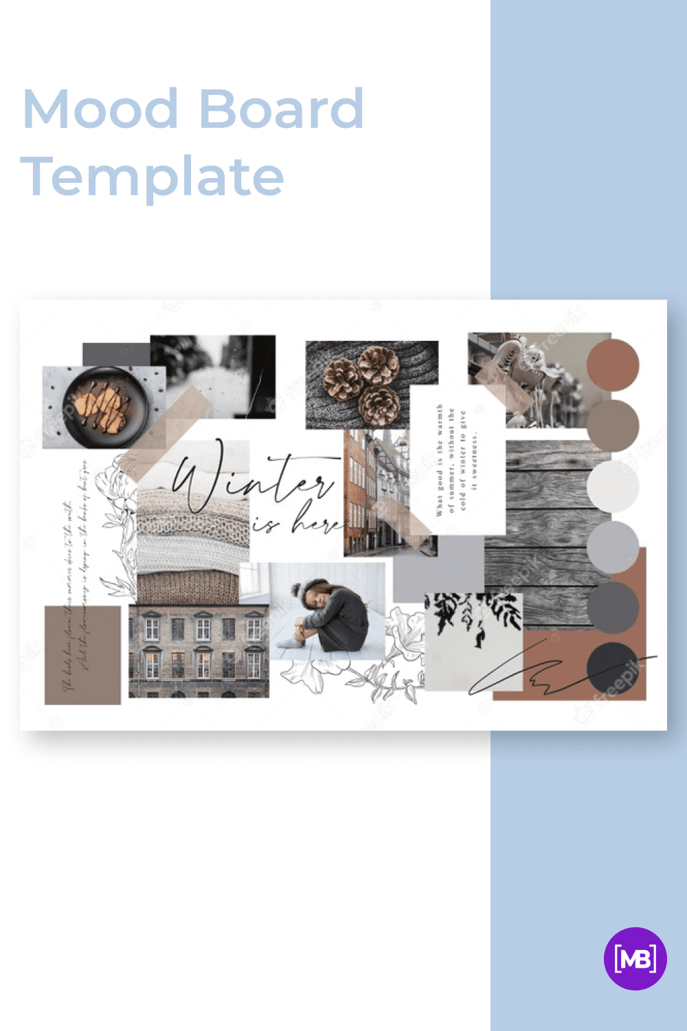 Close to the classic mood board, but with the addition of ornament on the background.