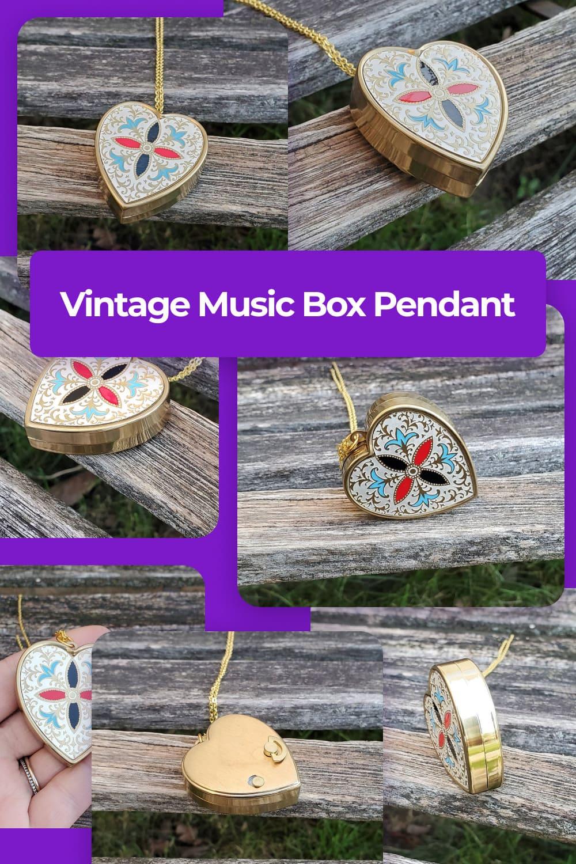 Vintage Music Box Pendant.
