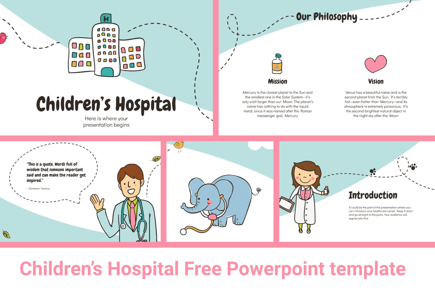Bright illustrated template on a medical theme for children.