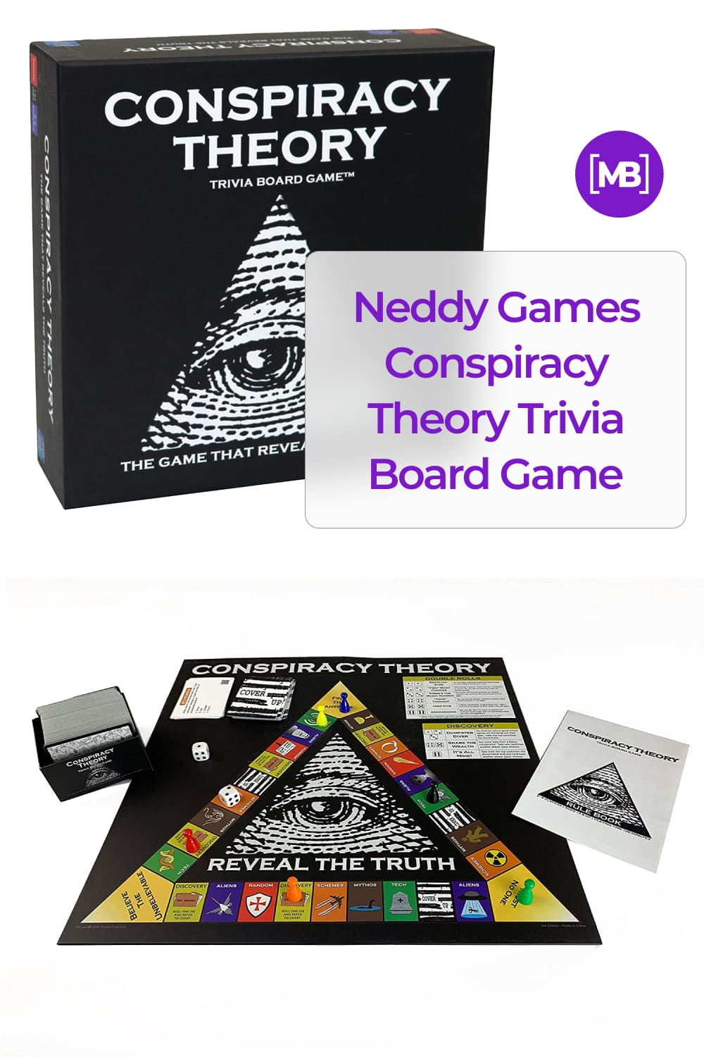 Conspiracy Theory Trivia Board Game tests your knowledge of the world of Internet conspiracies.