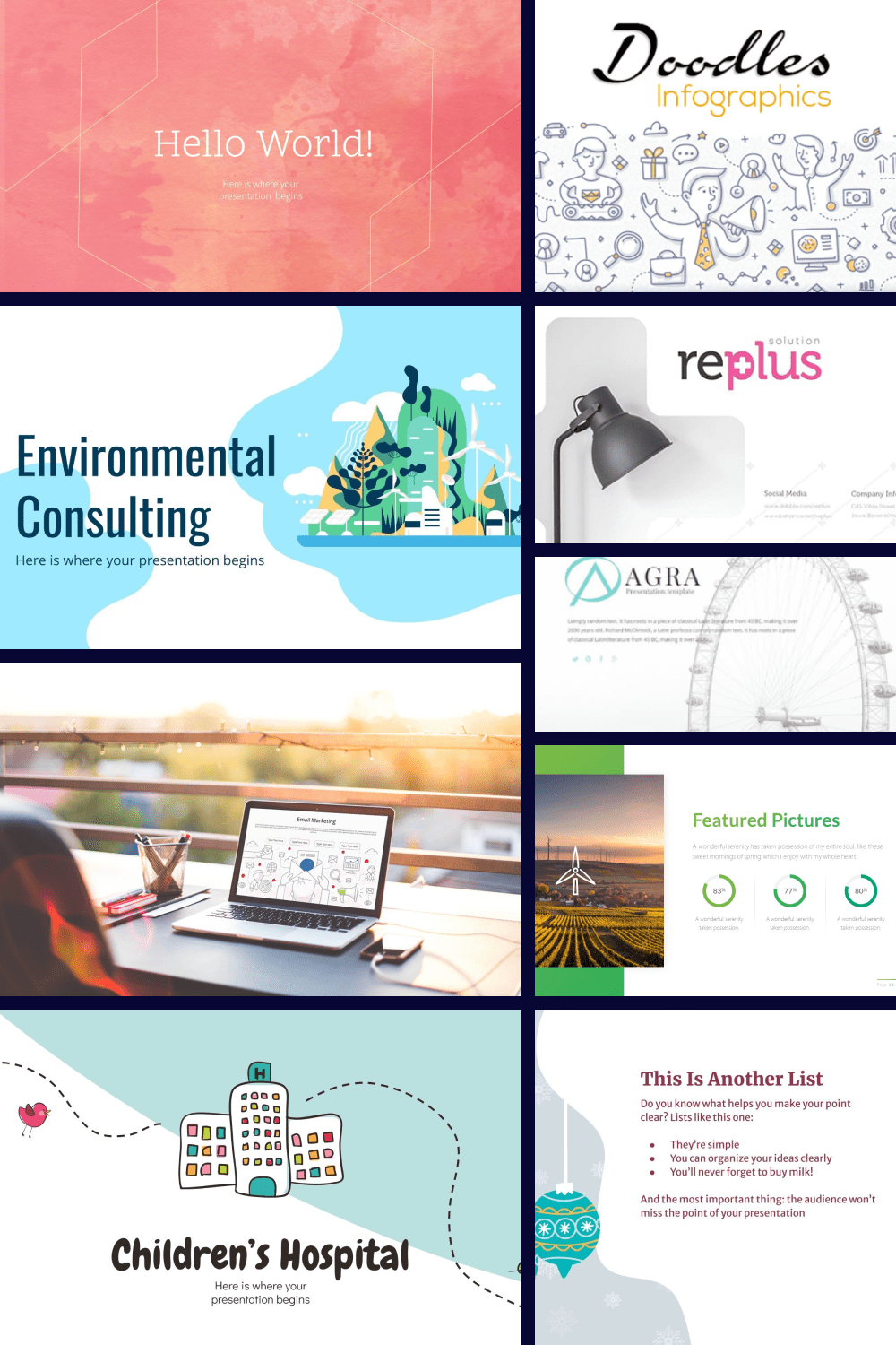 PowerPoint Presentation Templates collage for Pinterest.