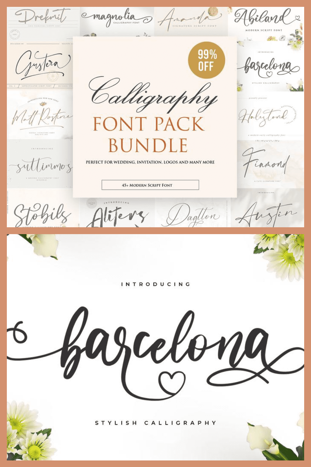 A set of fonts in italics for signing the most tender and love messages.