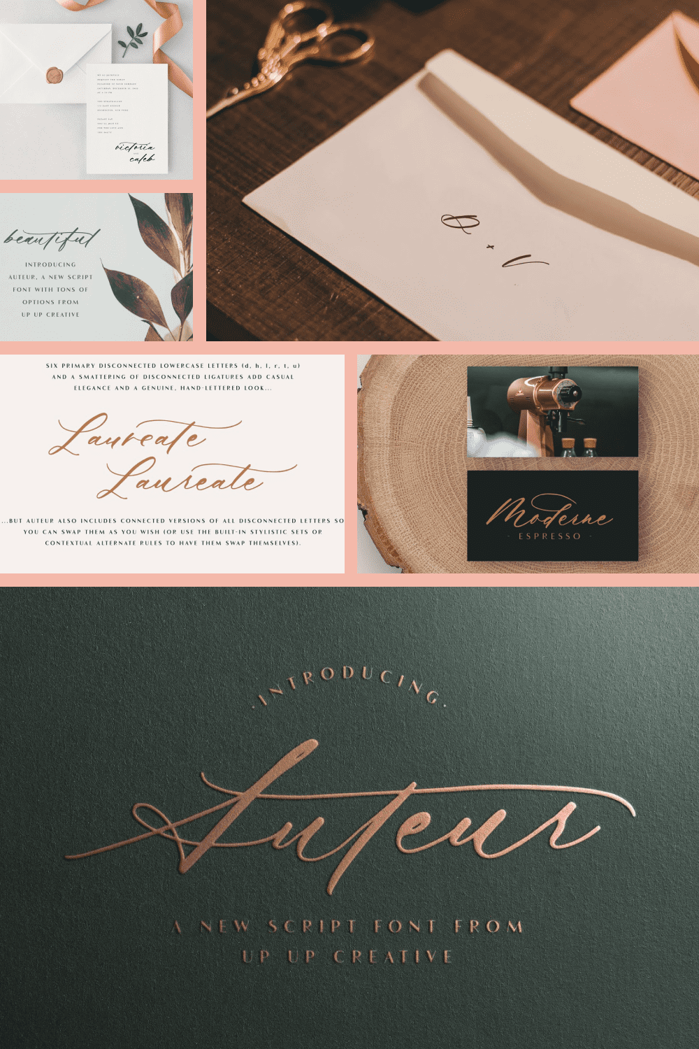 This is a very nice font. Embossed gold lettering on a matte background.