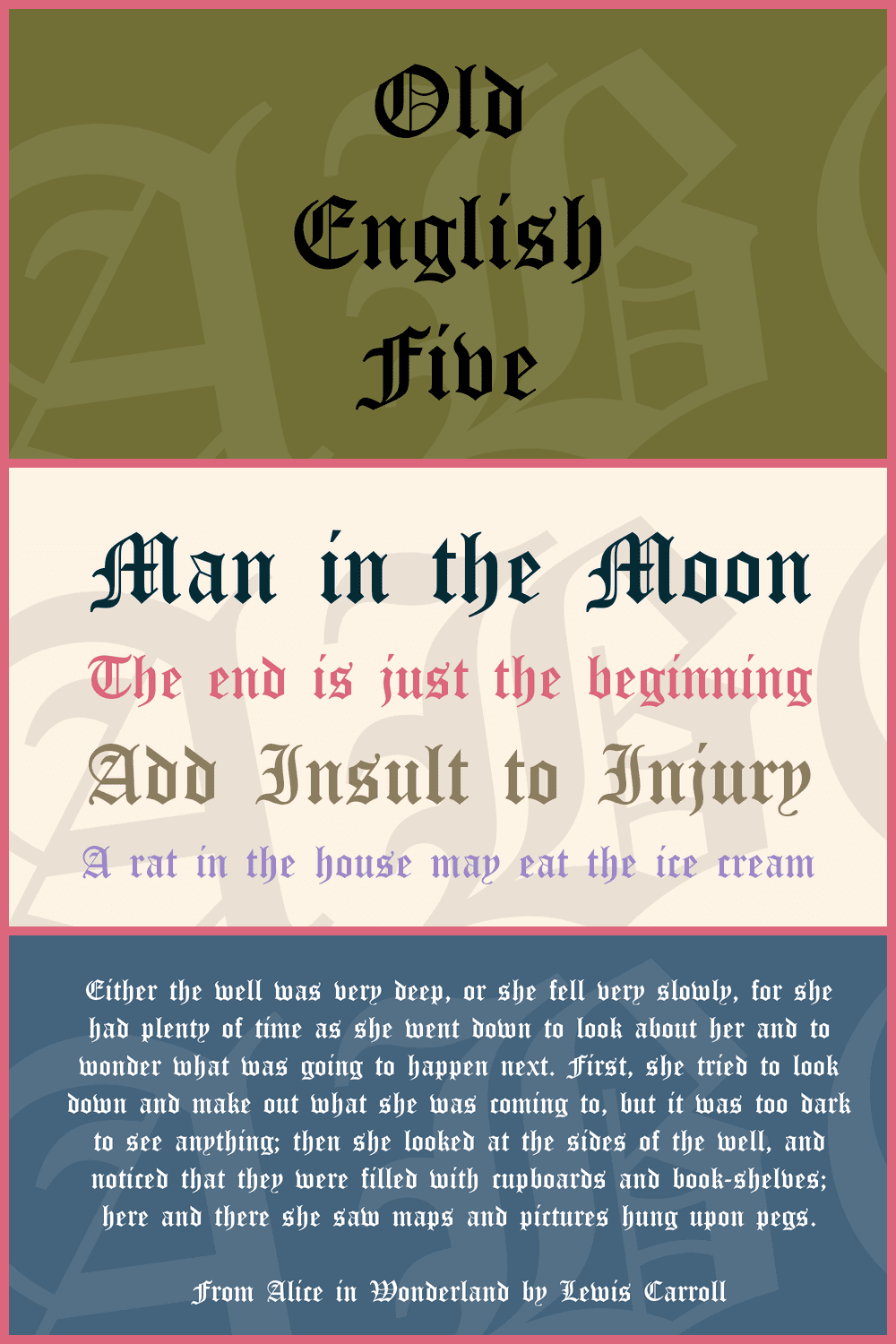 This font is very rich in ornaments and additional elements and it resembles an iron knight's uniform.