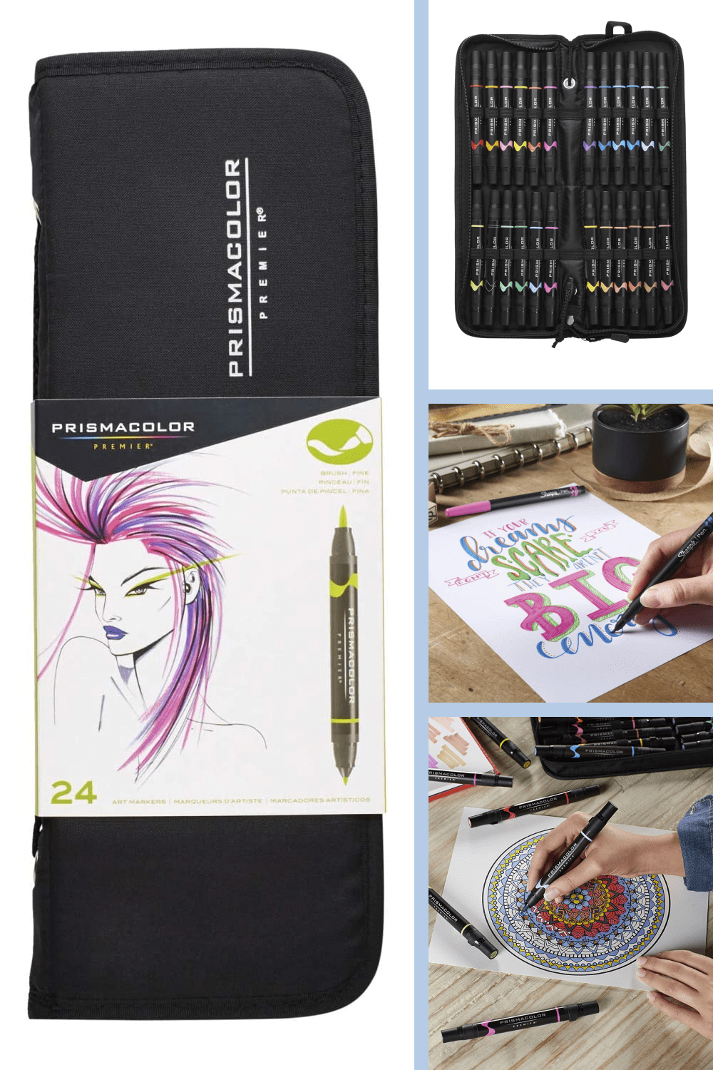 Dual ended markers featuring both fine and brush tips.