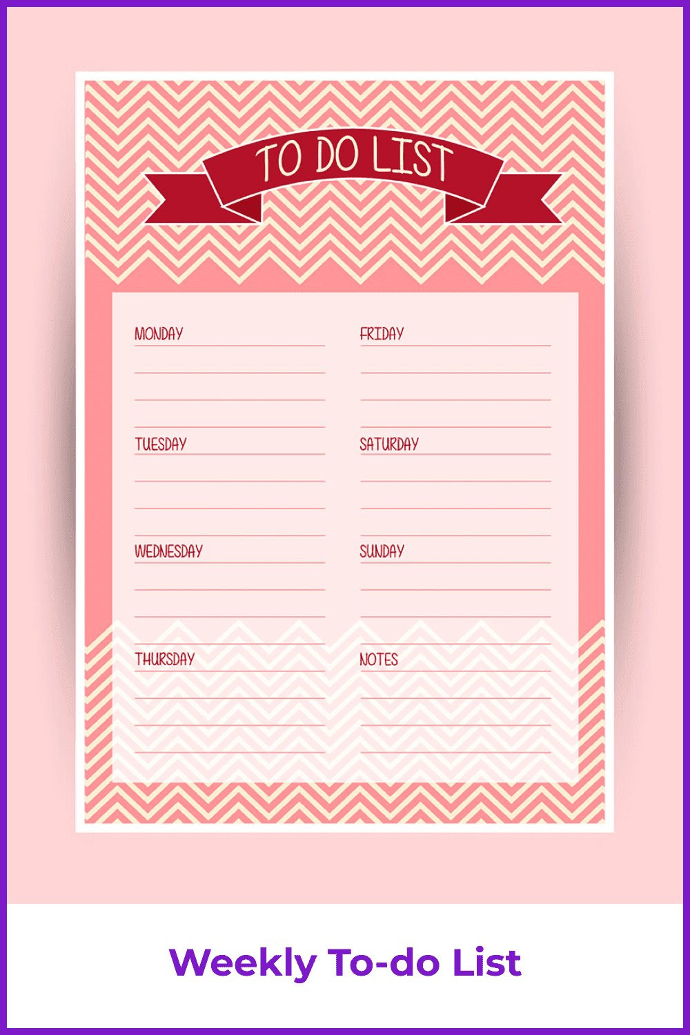 Planner in pink and red with geometric lines.
