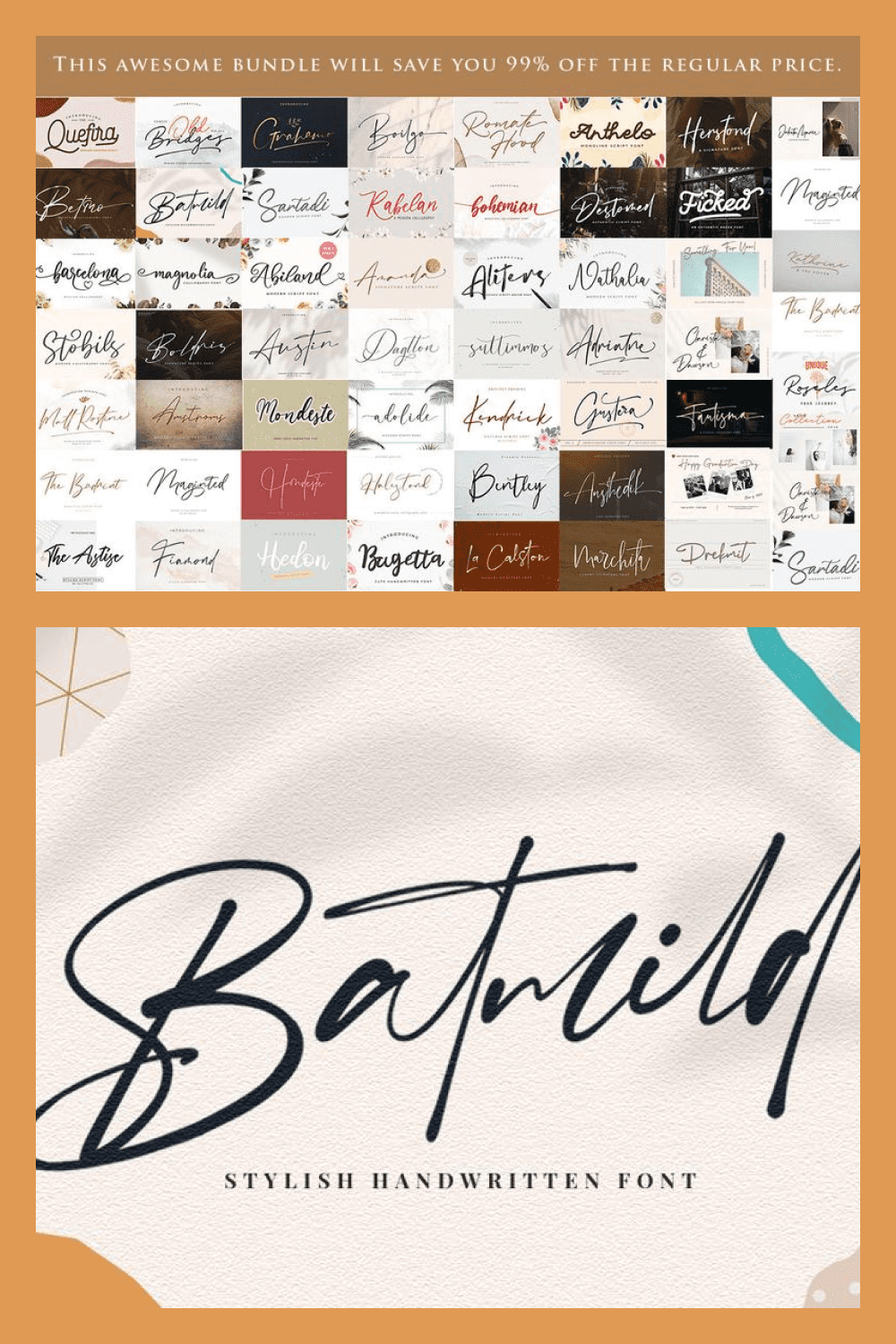 Collection of wedding fonts.