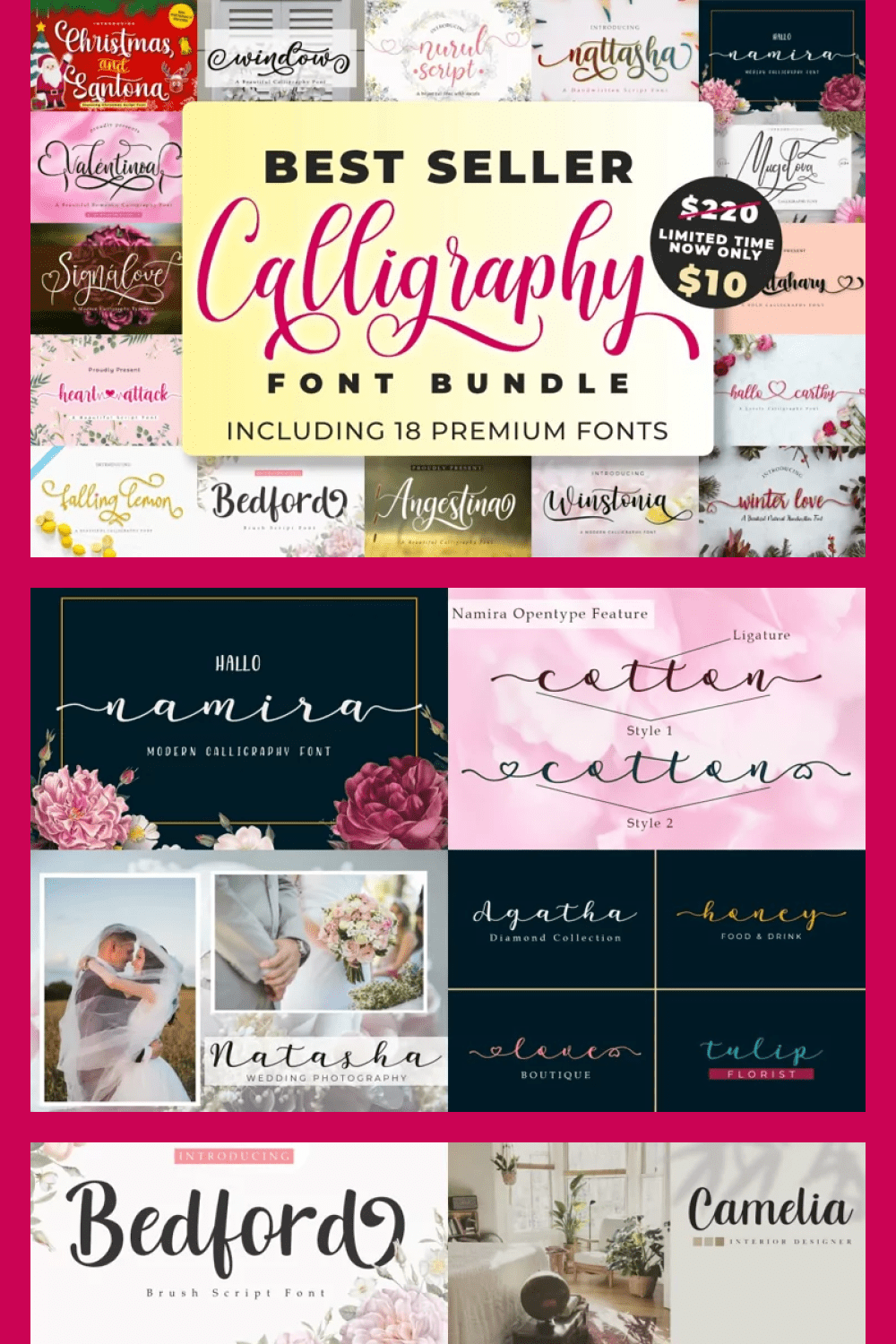 This collection is the best choice for you who loves a lovely calligraphy font with various and stunning alternates.