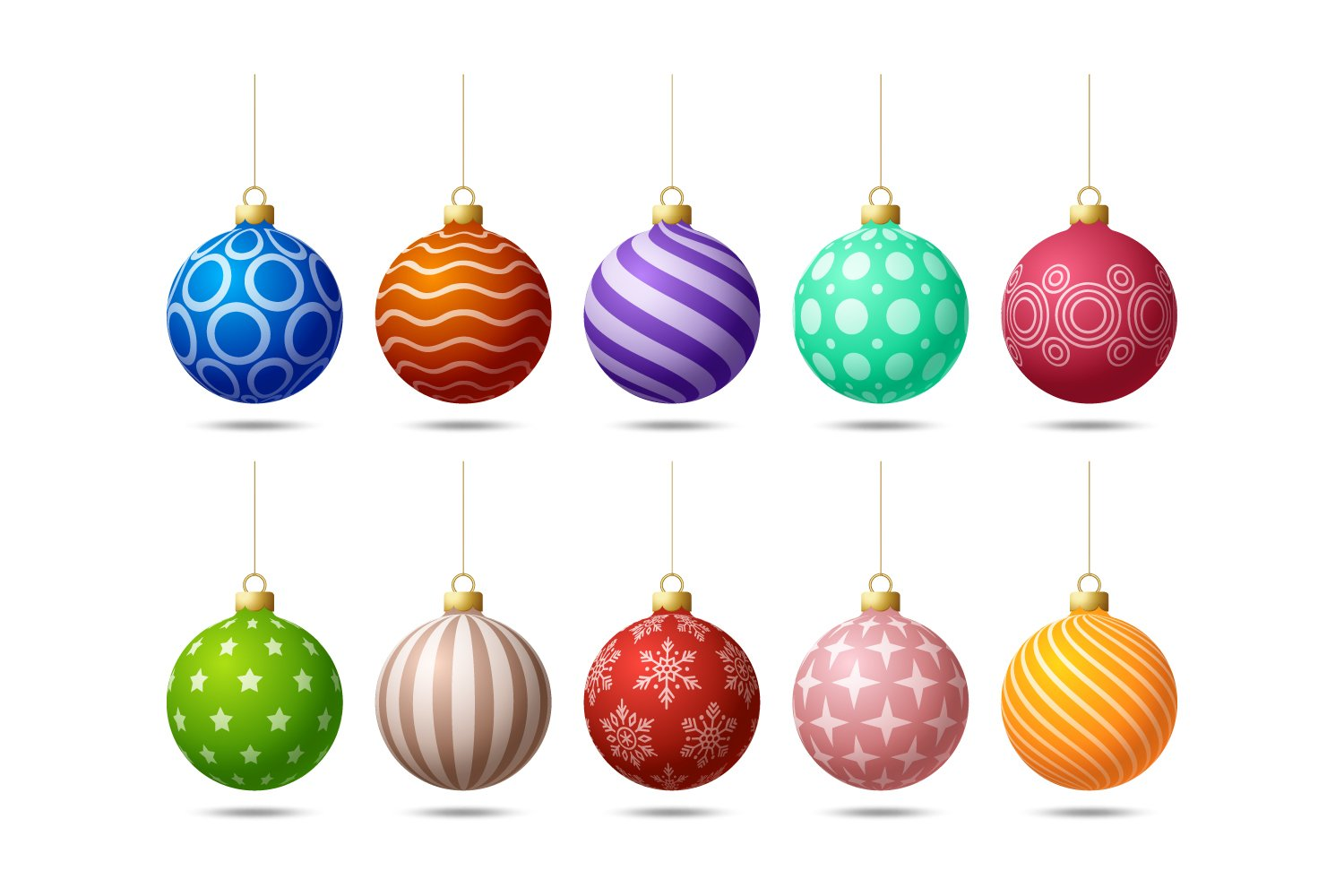 Round Christmas tree toys with multi-colored prints.
