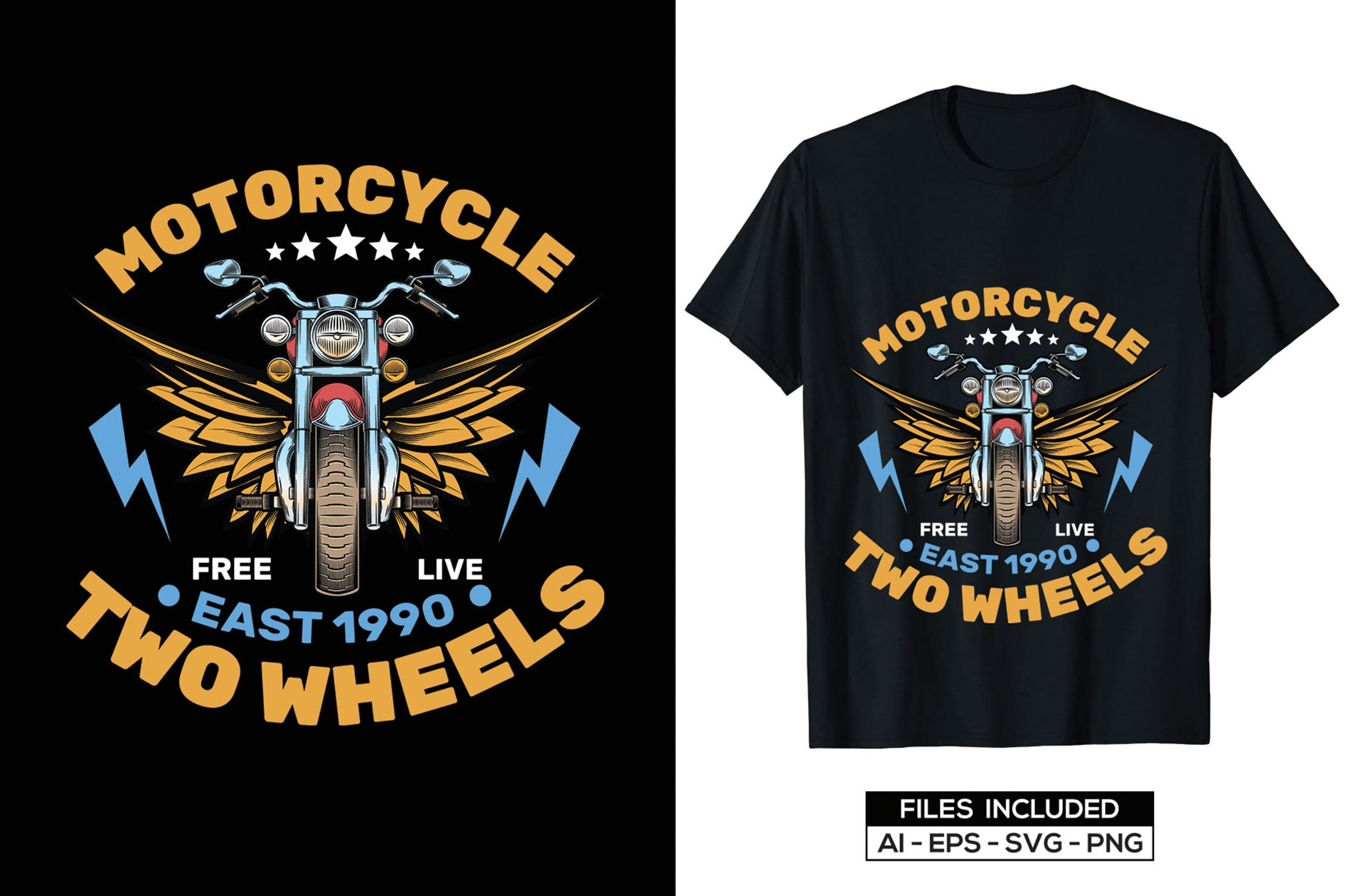 Black motorcycle with yellow fenders and blue inscription..