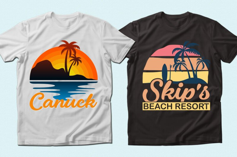 T-shirts with beach illustrations.