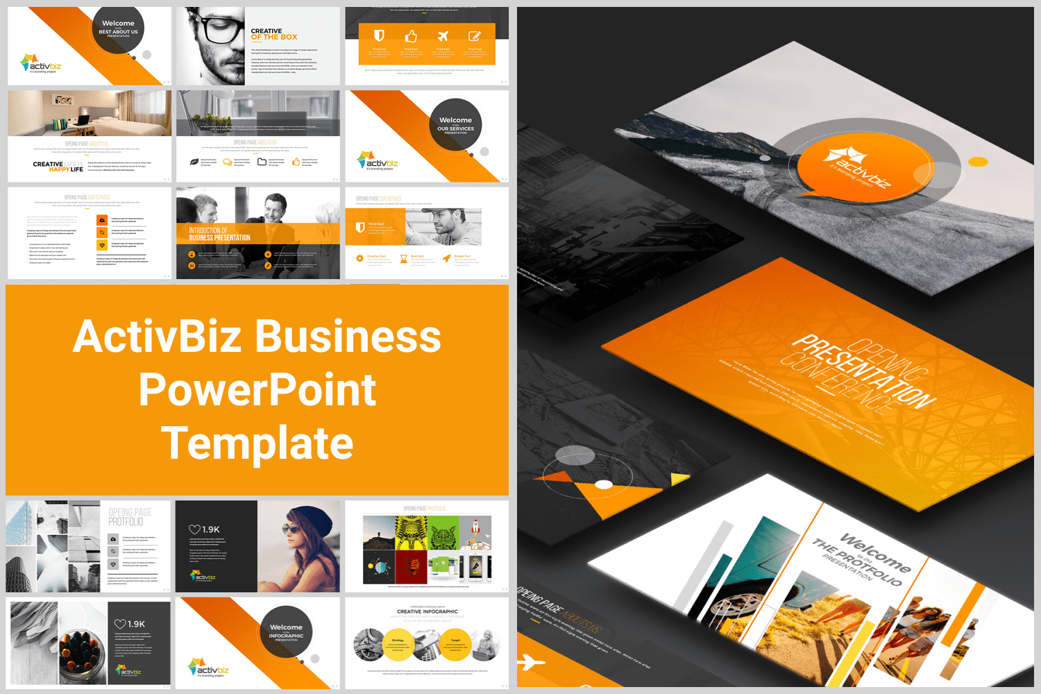 The classic template in orange is perfect for business themes.