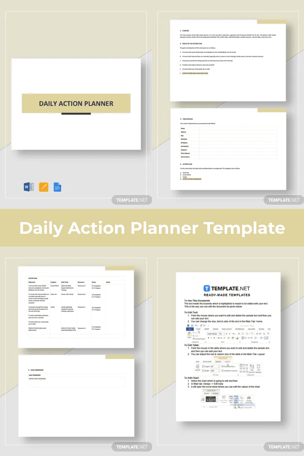 Detailed daily activity planner.