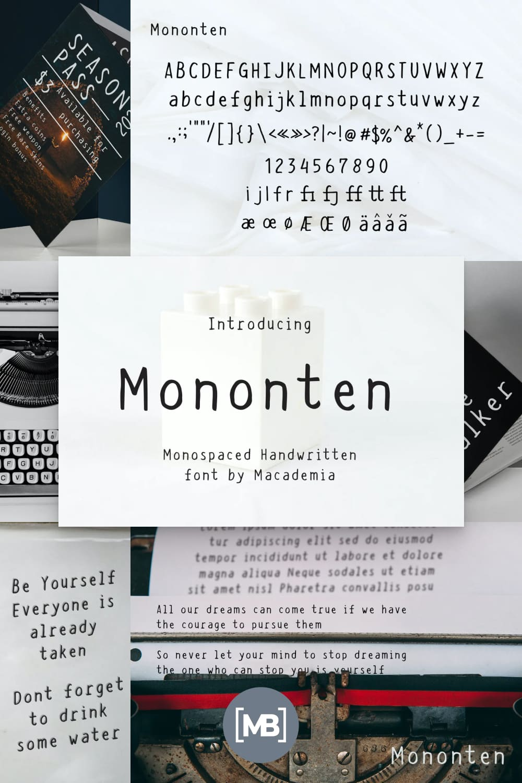 Typewriter font. Looks rare and stylish.