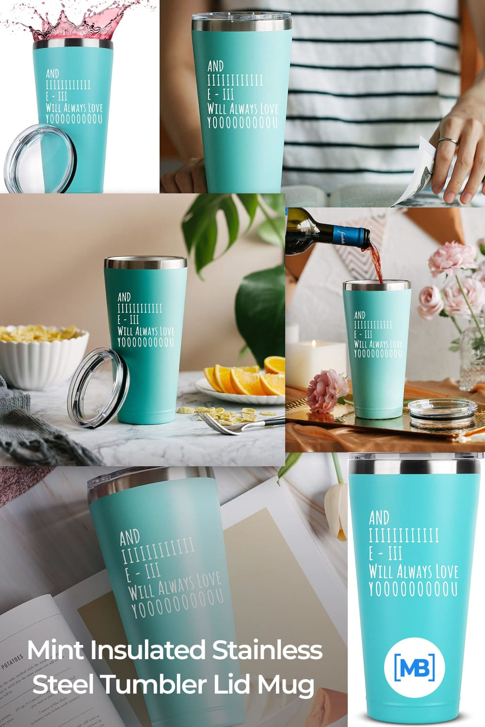 Mint insulated stainless steel tumbler w/lid mug.