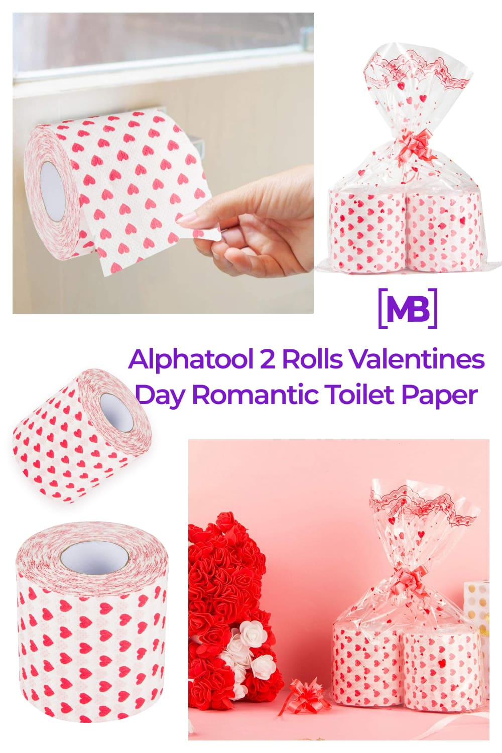 Rolls Valentine's Day romantic toilet paper in a small hearts.