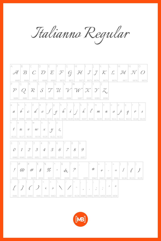 Regular italic font.