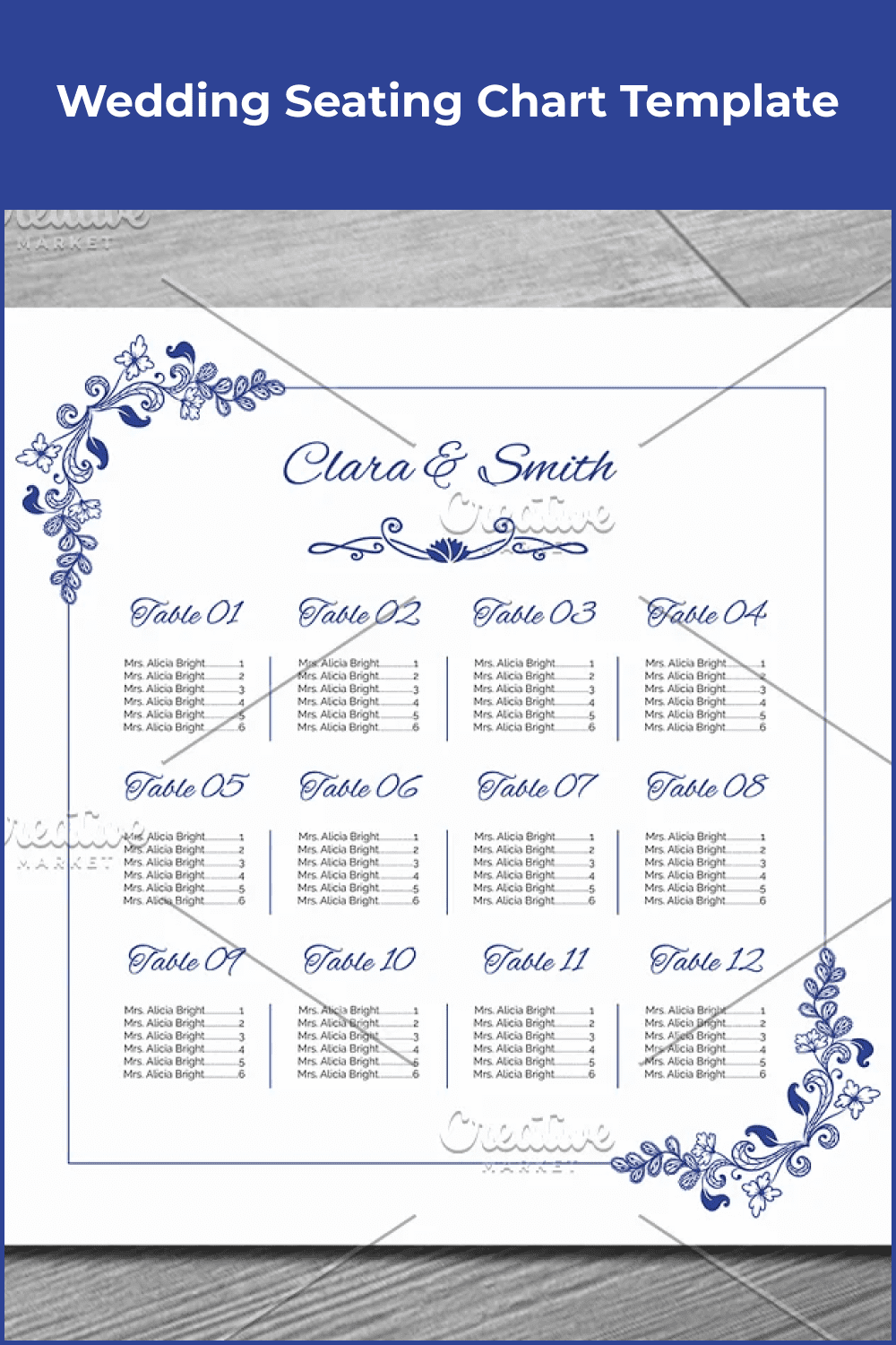 Arrangement of tables for a wedding in blue with flowers.