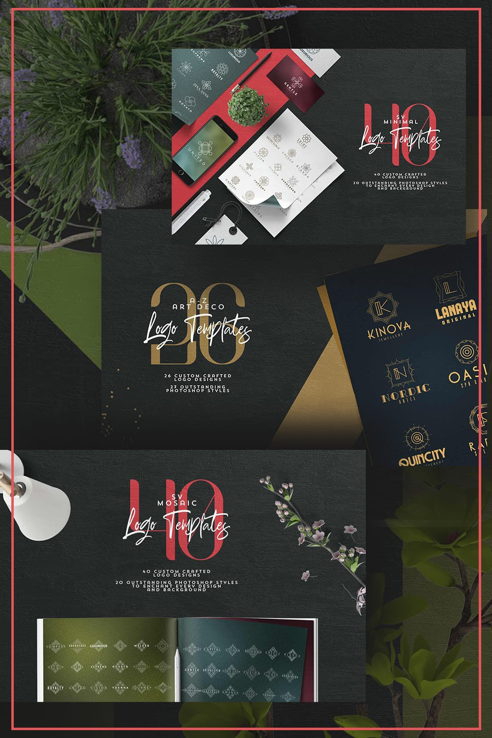 Some greenery and dozens of logo cards in different styles.