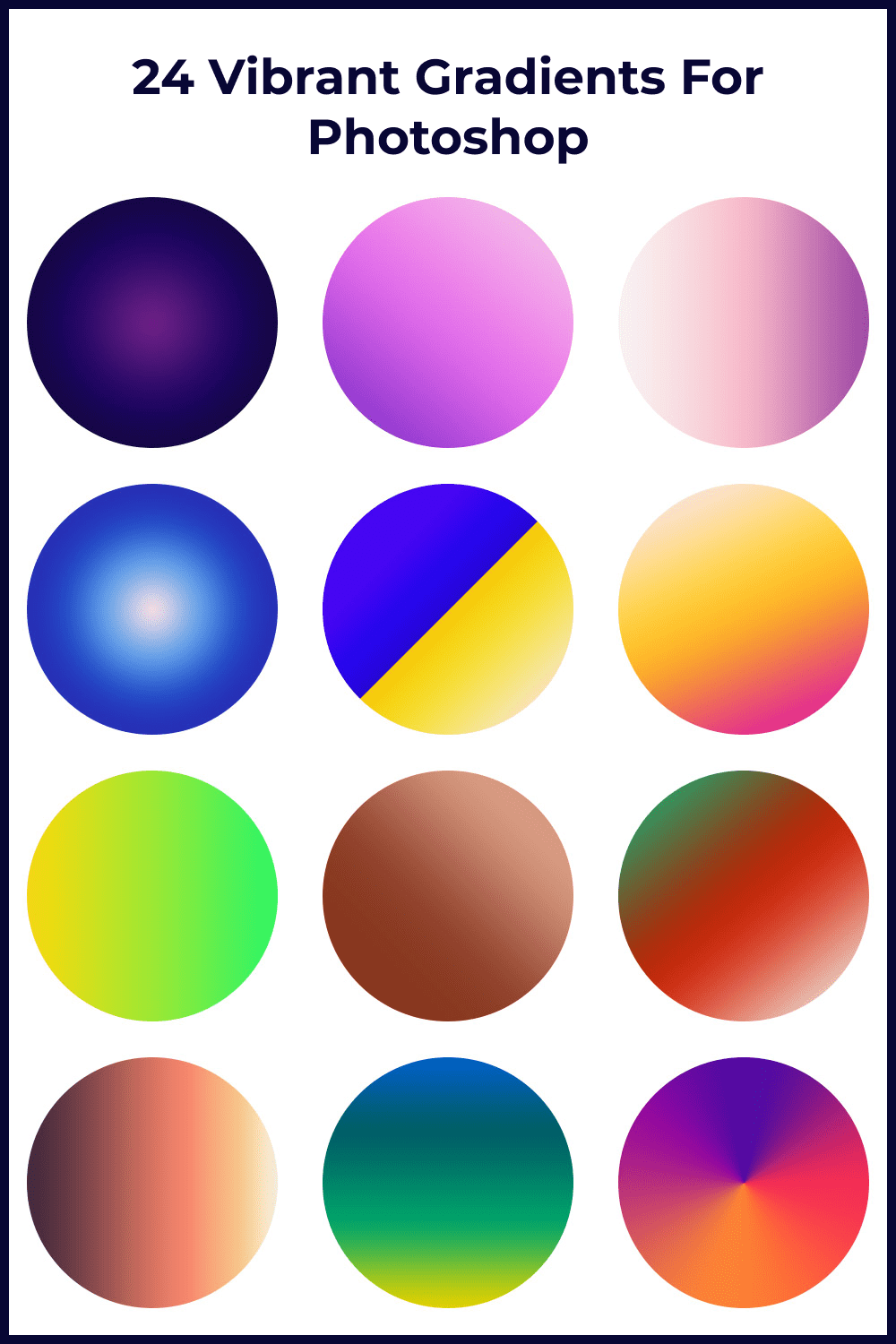 Create visually stunning and eye-popping designs using the gradients created with bright hues.