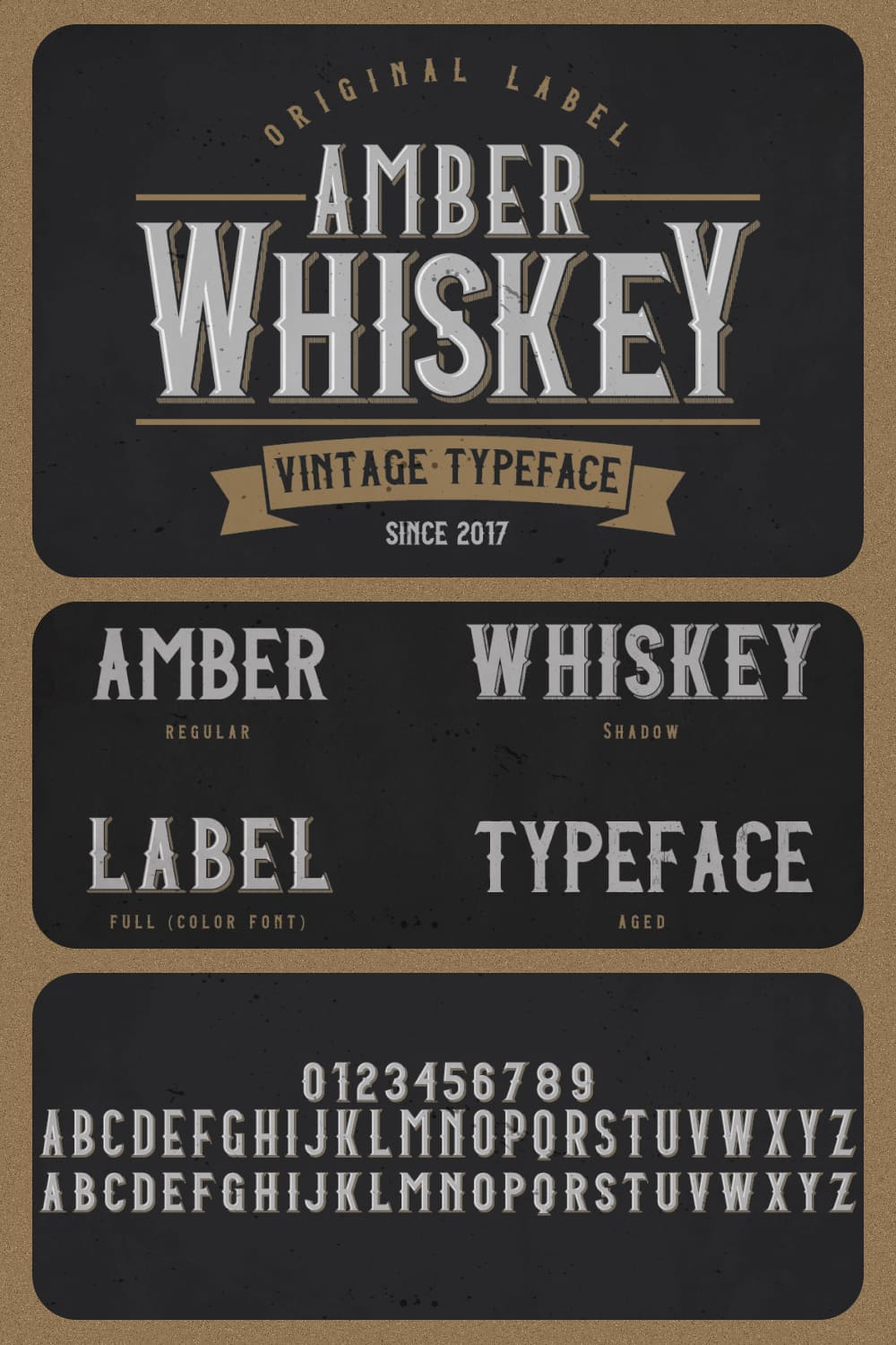 A vintage typeface that will look cool on an expensive whiskey label.