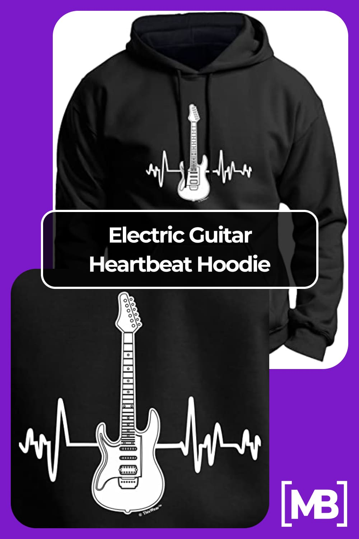 Electric guitar heartbeat hoodie.