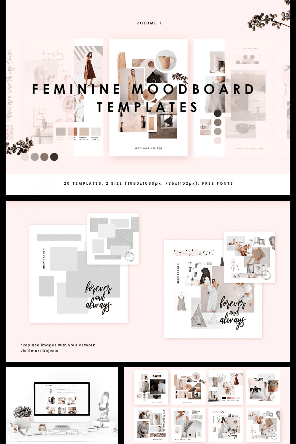Creative and delicate template in pastel colors for the visualization of women's dreams.