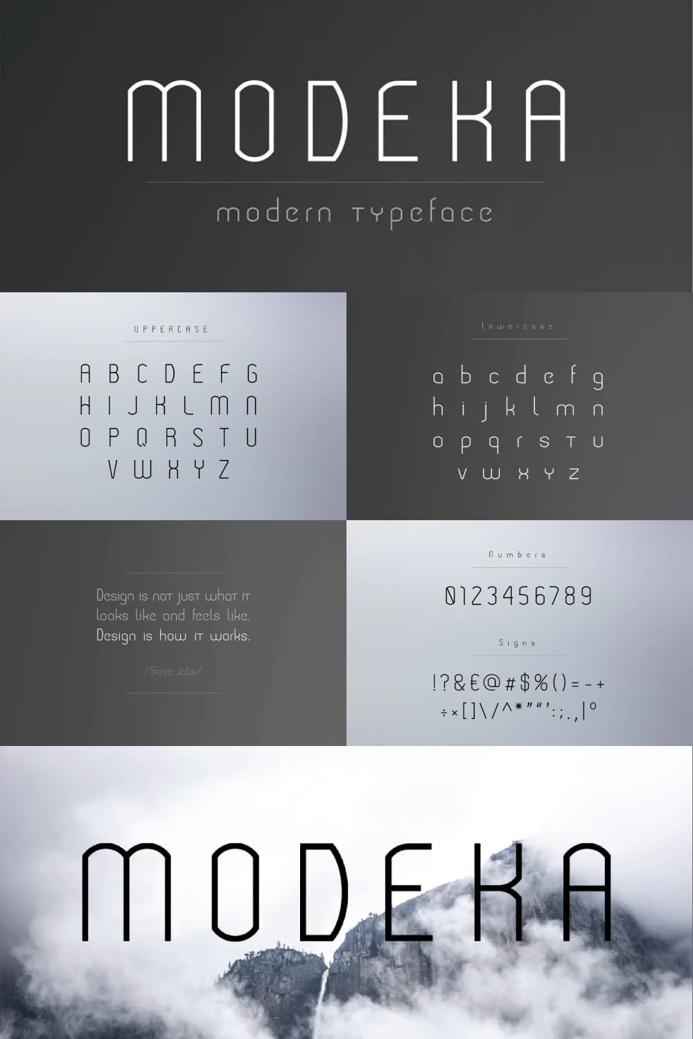 This font is reminiscent of the times of the Vikings - clear lines, uncompromising and cleanliness.
