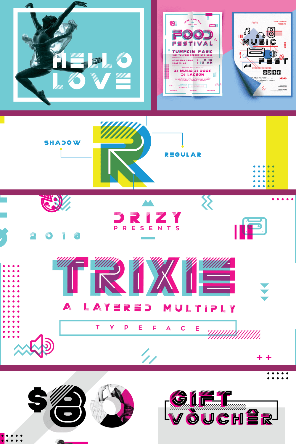 Neon font with 90s effect.