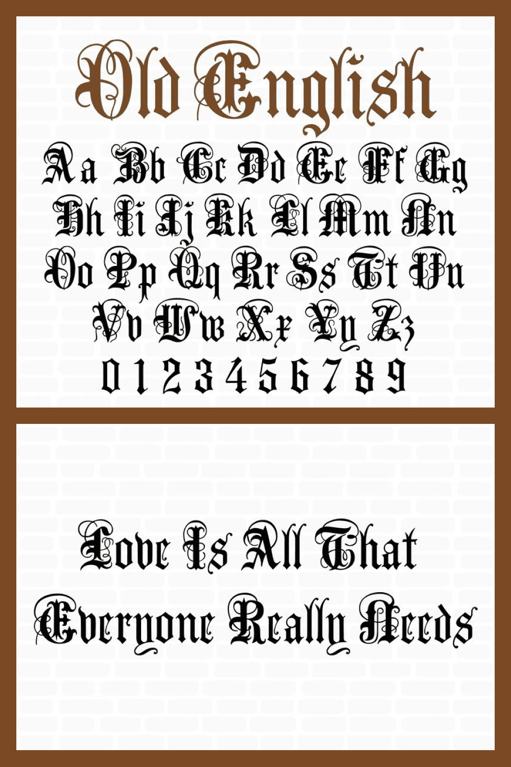 Vintage font in the Gothic style.