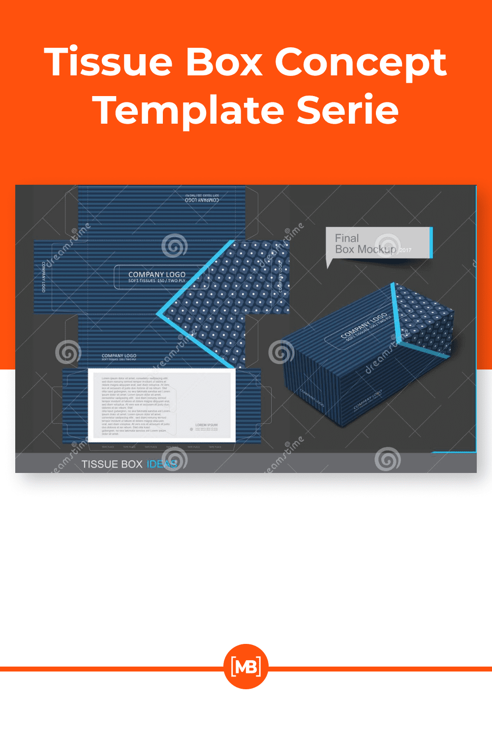 Tissue box template concept for business.